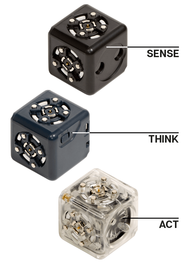 There are three kinds of Cubelets - Sense Cubelets are black. Think Cubelets are a variety of colors - and Act Cubelets are transperant.