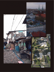 Images of different types of housing. Apartment buildings, improvised housing, and suburban homes.