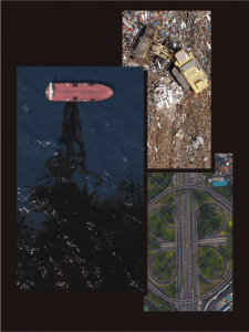 Examples of pollution - trash - oil spill - air pollution from vehicles.
